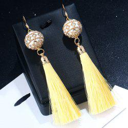 Vintage Rhinestone Tassel Ball Hook Earrings -