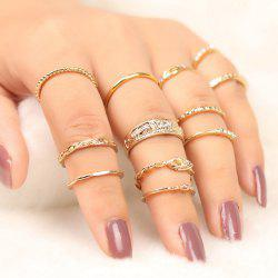 Engraved Alloy Circle Finger Ring Set -