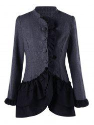 Ruffle Trim Layered Coat - DEEP GRAY L