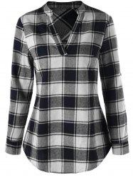 Split Neck Curved Hem Plaid Blouse - BLACK + WHITE 2XL