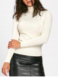 Long Sleeve Turtleneck Pullover Sweater - OFF-WHITE ONE SIZE
