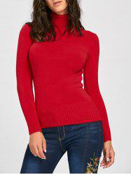 Long Sleeve Turtleneck Pullover Sweater - RED ONE SIZE
