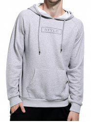 Graphic Print Pocket Hoodie - GRAY 2XL