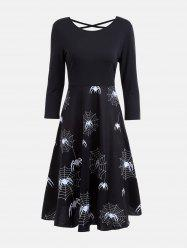 Halloween Spider Web Print Casual Flare Dress - Black - 2xl