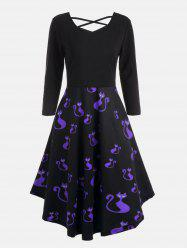 Plus Size Halloween Pumpkins Cats Print Flare Dress - Blue - 3xl
