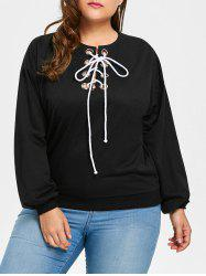 Plus Size Drop Shoulder Lace Up Sweatshirt - BLACK ONE SIZE