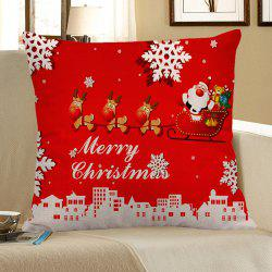 Santa Claus Elk Cart Snowflakes Patterned Pillow Case -