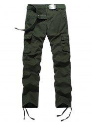 Drawstring Feet Zipper Fly Pockets Cargo Pants - ARMY GREEN 38