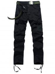 Drawstring Feet Zipper Fly Pockets Cargo Pants - BLACK 36