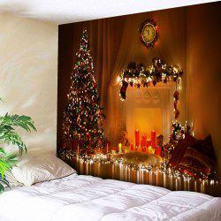 Christmas Tree Printed Bedroom Decor Tapestry - Yellow Orange - W91 Inch * L71 Inch