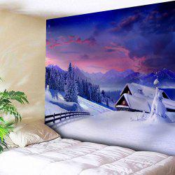 Christmas Snow Scenery Pattern Wall Tapestry - Violet Blue - W91 Inch * L71 Inch