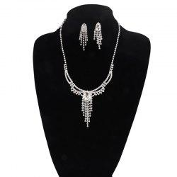Rhinestone Fringed Teardrop Jewelry Set - SILVER
