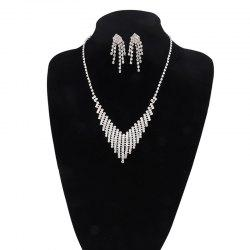 Rhinestoned Fringed Necklace and Earring Set -