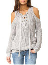 Cold Shoulder Lace-up Sweater -