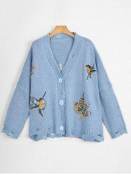 Ripped V Neck Plus Size Bird Embroidered  Cardigan - BLUE ONE SIZE