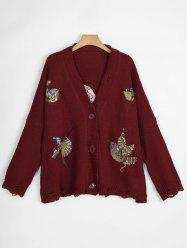 Ripped V Neck Plus Size Bird Embroidered  Cardigan - WINE RED ONE SIZE