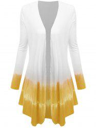 Plus Size Open Front Ombre Duster Coat - YELLOW XL
