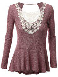 Plus Size Open Back Lace Panel Peplum T-shirt - BRICK-RED 4XL