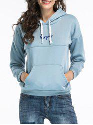 Embroidered Pullover Hoodie - BLUE M