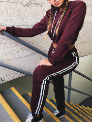 Cropped Hoodie with Jogger Pants - WINE RED L