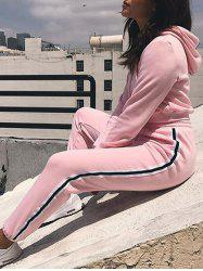 Cropped Hoodie with Jogger Pants - PINK L