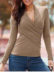 V Neck Wrap T Shirt - KHAKI S