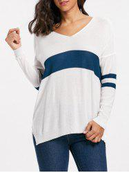 Striped Long Sleeve Asymmetric Sweater -