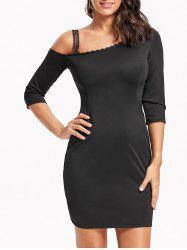 Skew Neck Lace Trim Mini Bodycon Dress - BLACK M