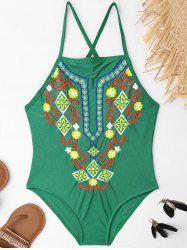 Plus Size Lace Up Embroidered Swimsuit - GREEN 4XL