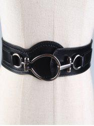 Faux Leather Wide Belt with Large Metal Clasp - BLACK
