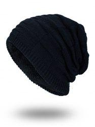 Velvet Stripy Thicken Plaid Knitted Beanie - BLACK