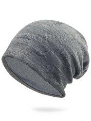 Plain Stripy Embellished Knit Hat - LIGHT GRAY