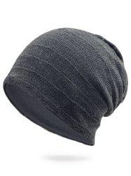 Plain Stripy Embellished Knit Hat -
