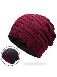 Warm Color Block Reversible Knit Hat - WINE RED