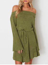 Off The Shoulder Drawstring Sweater Dress -