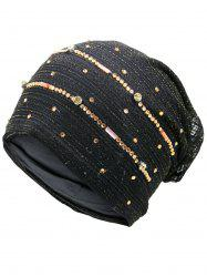 Rhinestones Embellished Lurex Lace Hat - BLACK