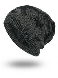 Stars Pattern Flocking Knitted Beanie Hat -