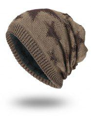 Stars Pattern Flocking Knitted Beanie Hat - KHAKI