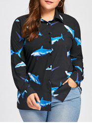 Plus Size 3D Shark Print Long Sleeve Top - BLACK 4XL