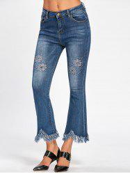 Fringe Cat's Whisker Hollow Out Nine Miniutes of Jeans - BLUE 2XL
