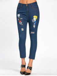 Ripped Cartoon Pattern Scratch Nine Minutes of Jeans -