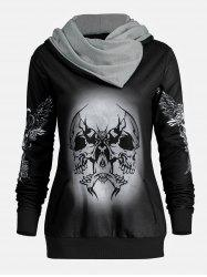 Halloween Skull and Wings Print Hoodie - BLACK S