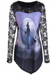 Plus Size Floral Lace Halloween Witch Asymmetrical Tee - Black - Xl