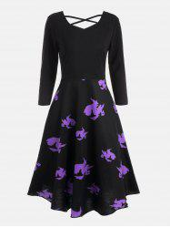 Halloween Witches Print Cross Back Flare Dress - BLACK 2XL