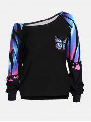 Butterfly Print Plus Size Skew Neck Sweatshirt - Black - 2xl