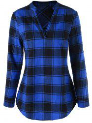 Split Neck Curved Hem Plaid Blouse -