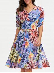 V Neck Floral Surplice Dress -