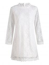 Scalloped Hem Plus Size Long Sleeve Lace Dress -
