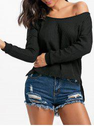 Skew Neck High Low Pullover Sweater -