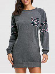 Crew Neck Floral Mini Sweatshirt Dress -